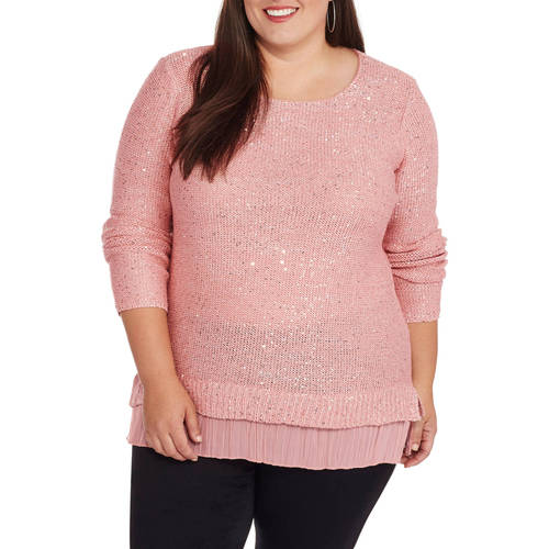 Faded Glory Women's Plus Twofer Sequin Sweater