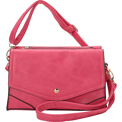 Ashley M Fashion Double Flap Leather Convertible Shoulder Bag