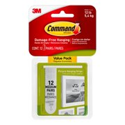 Command Medium Picture Hanging Strips, White, 12 Pairs Per Pack