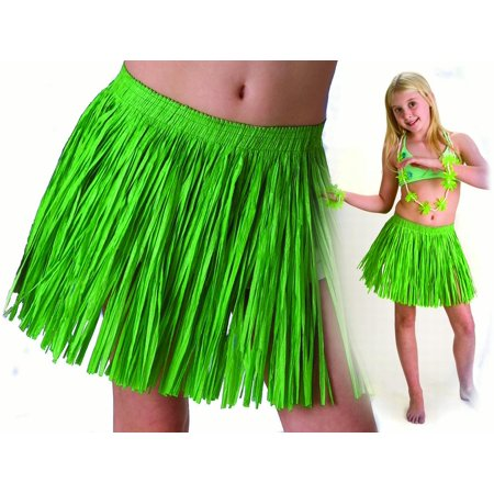 Tropical Sun Girls Luau Tropical Paper Raffia Hula Skirt, Green, One-Size - Kids Hula Skirt