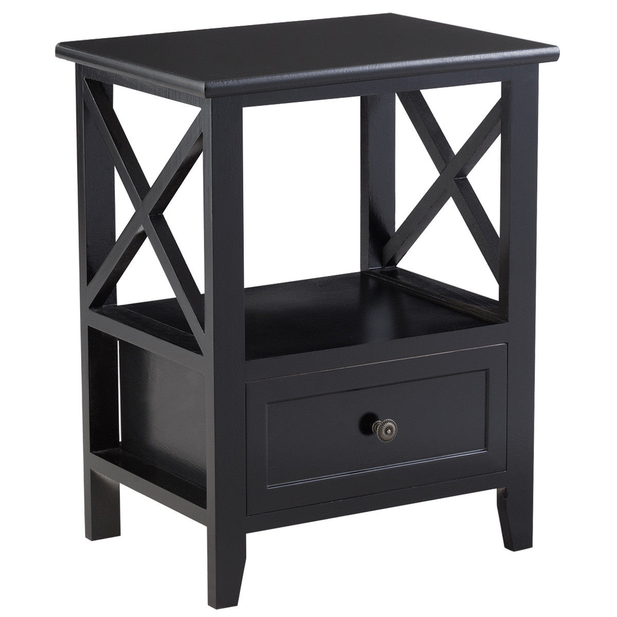 Gymax Black Nightstand End Side Table Shelf Storage Drawer Room Furniture