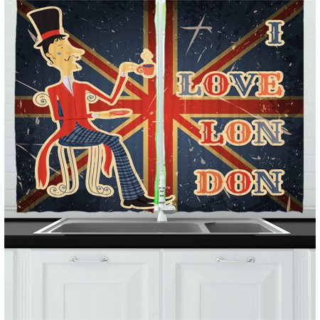 British Curtains 2 Panels Set, I Love London Quote with English Man on UK  Flag Backdrop National Design, Window Drapes for Living Room Bedroom, 55W X  ...