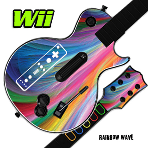 Mightyskins Skin Decal Cover for GUITAR HERO 3 III Nintendo Wii Les Paul - Rainbow Wave