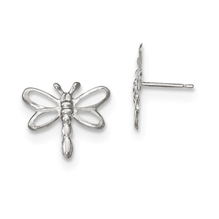 14k White Gold Childrens Polished Dragonfly Earrings 0 5in Diameter