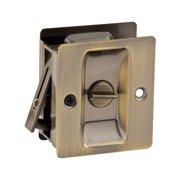 Kwikset 333 Notch Bed Bathroom Privacy Pocket Sliding Door Pull & Lock, Brass