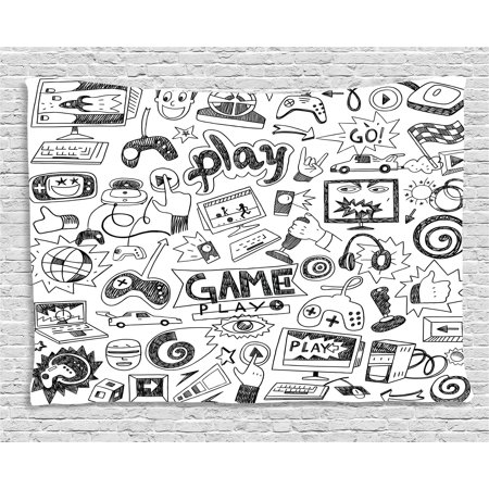 Video Games Tapestry, Monochrome Sketch Style Gaming Design Racing Monitor Device Gadget Teen 90's , Wall Hanging for Bedroom Living Room Dorm Decor, 60W X 40L Inches, Black White, by Ambesonne - 90s Room Decor