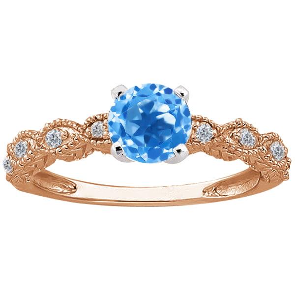 1.10 Ct Round Swiss Blue Topaz Diamond 14K Rose Gold Ring