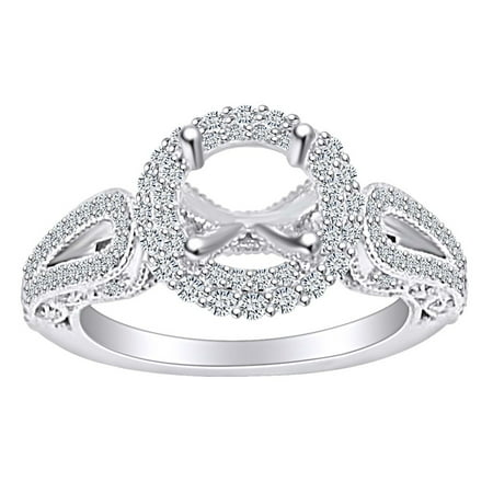 0.85 Carat (Ctw) Round Shape White Natural Diamond Semi Mount Engagement Ring In 14k Solid White Gold Ring Size-10