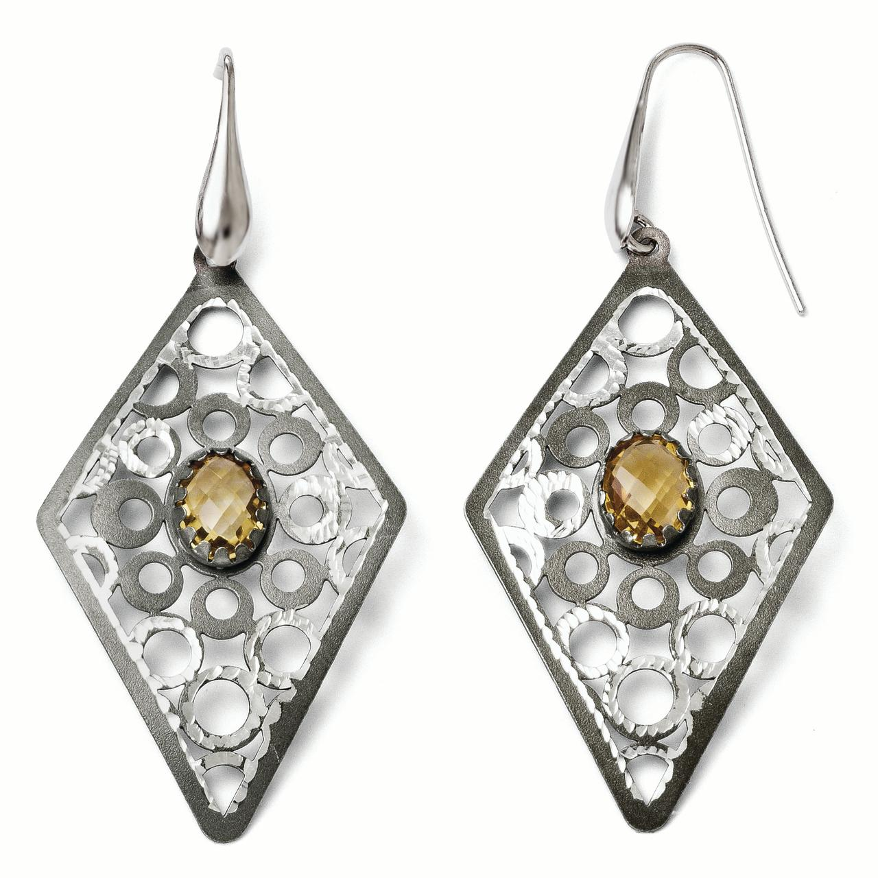 925 Sterling Silver Ruthenium Plated Yellow Citrine Drop Dangle Chandelier Earrings Fine Jewelry Gifts For Women For Her - image 4 of 4