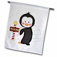 3dRose Cute Black and White Penguin With An Igloo With North Pole, Garden Flag, 18 by 27-Inch