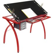 Studio Designs Futura Craft, Drafting, Drawing Table with Adjustable Top and Supply Storage in Red / Black Glass # 10076