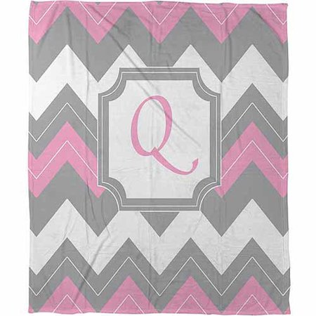 Thumbprintz Chevron Monogram Pink Q Coral Fleece Throw, 30