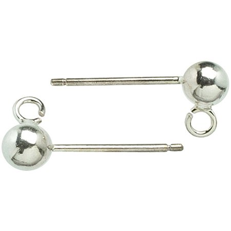 Plated Silver Metal Findings Ear Post 4mm Ball, 6pk