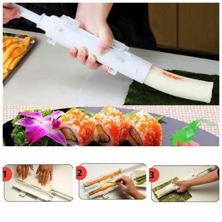 Sushi Maker Tool Roll Meat Vegetables Bazooka Rice Mould DIY Sushis Mold Tube Roller Cooking Kitchen Gadgets ()