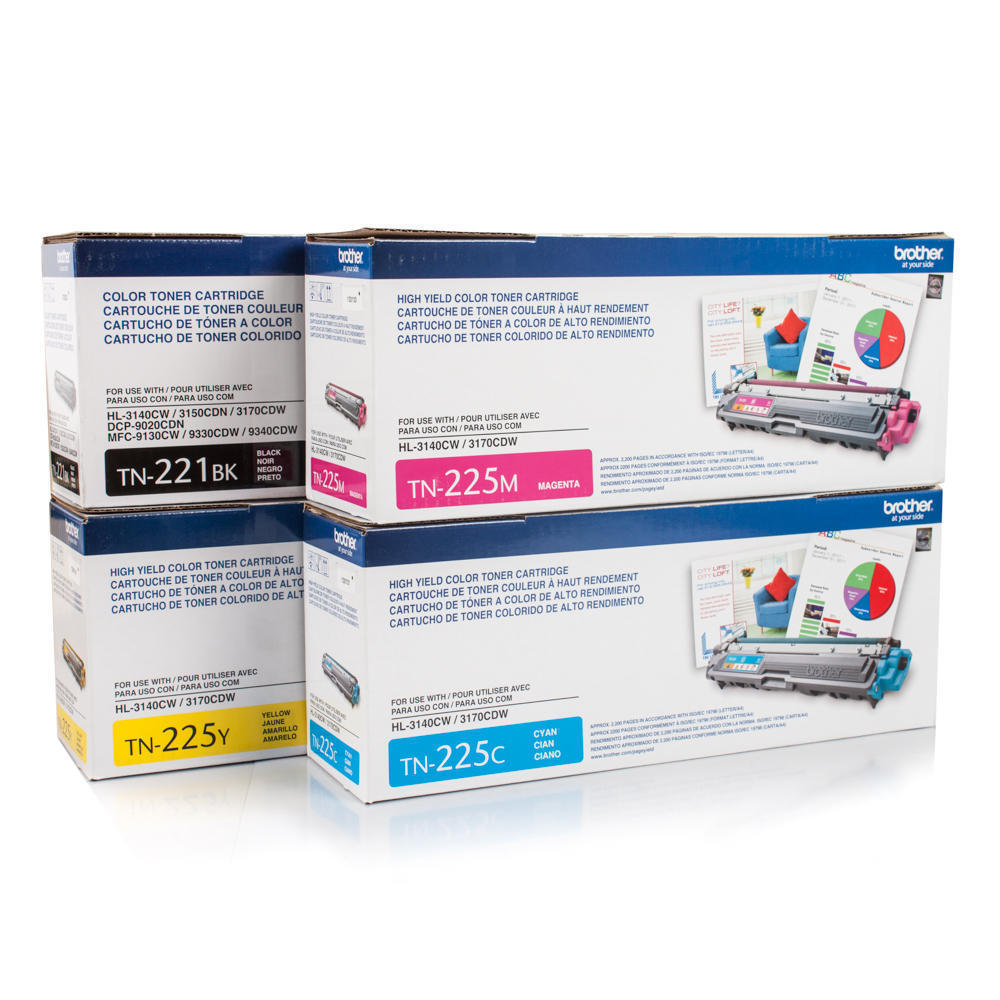 Brother TN221BK Black and TN225 C/M/Y High Yield Color Toner Cartridge Set
