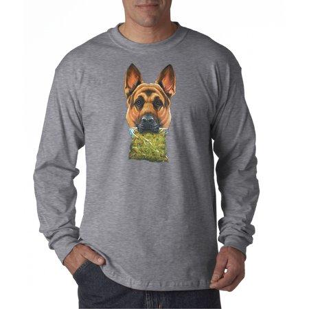 Image of Trendy USA 1031 - Unisex Long-Sleeve T-Shirt German Shepherd Holding Weed Bag Large Heather Grey