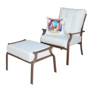 Panama Jack Island Breeze Deep Seating Lounge Chair with Ottoman and Cushions-Upholstery:Polyester