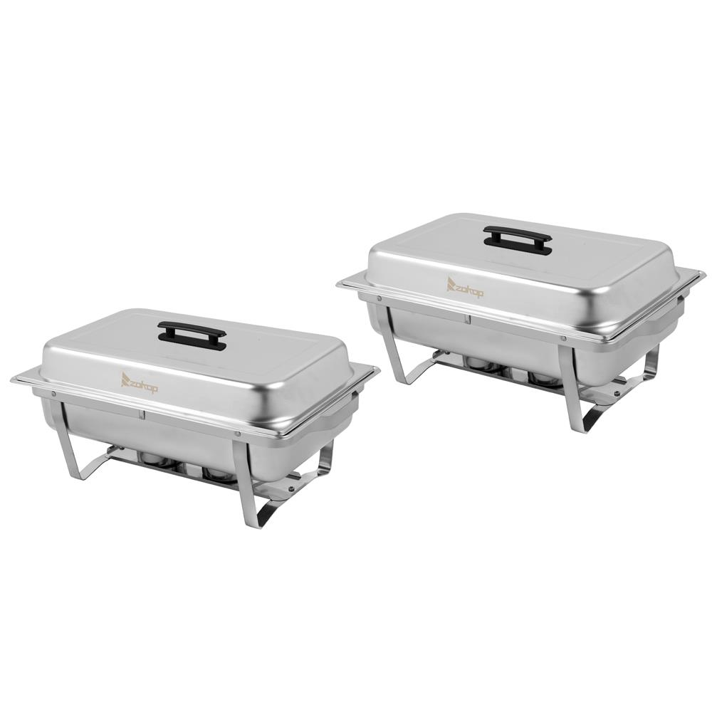 Godecor 2 Pcs 8qt Rectangular Chafing Dish Stainless Steel Chafer Set Walmart Com Walmart Com