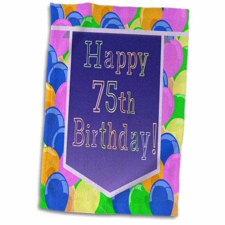 The Party Aisle Balloons With Banner Happy 75th Birthday Hand Towel