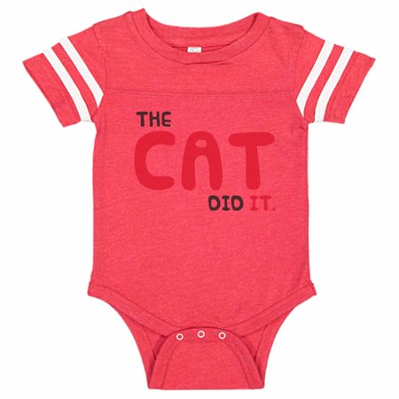 "Adorable & Funny Cat Baseball Bodysuit Raglan ""The Cat Did It."" Newborn Silly Cat Shirt Gift - Baby Tee, 12-18 months, Red & White Short Sleeve"