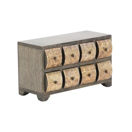 Rustic Mango Wood Curved Square Paneled 8-Drawer Horizontal Jewelry Chest, Dark (Curved Chest)