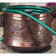 garden hose pot with lid. Embossed Copper Garden Hose Holder Pot With Lid