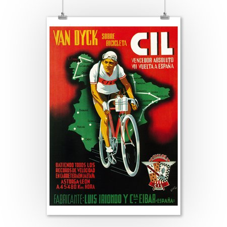 Bicycle Racing Promotion - Vintage Poster (9x12 Art Print, Wall Decor Travel Poster) - Racing Decor