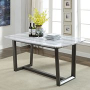 Acme Madan Rectangular Trestle Dining Table in Marble and Gray Oak