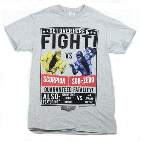 Mortal Kombat Mens T-Shirt - Scorpion Sub Zero Fight Poster Image for $<!---->