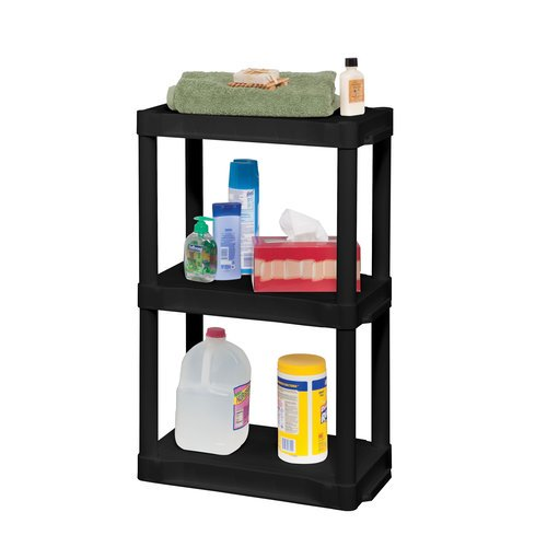 plano 3 tier heavy duty plastic storage black. Black Bedroom Furniture Sets. Home Design Ideas