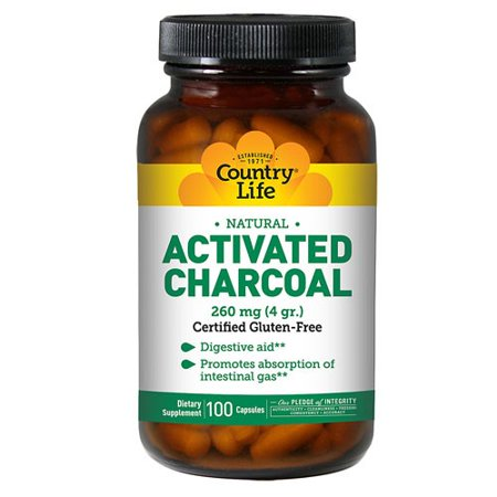 Country Life Activated Charcoal Capsules, 260 Mg, 100 Ct