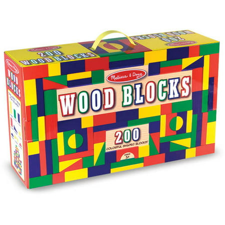 Melissa & Doug Wooden Building Block Set - 200 Blocks in 4 Colors and 9