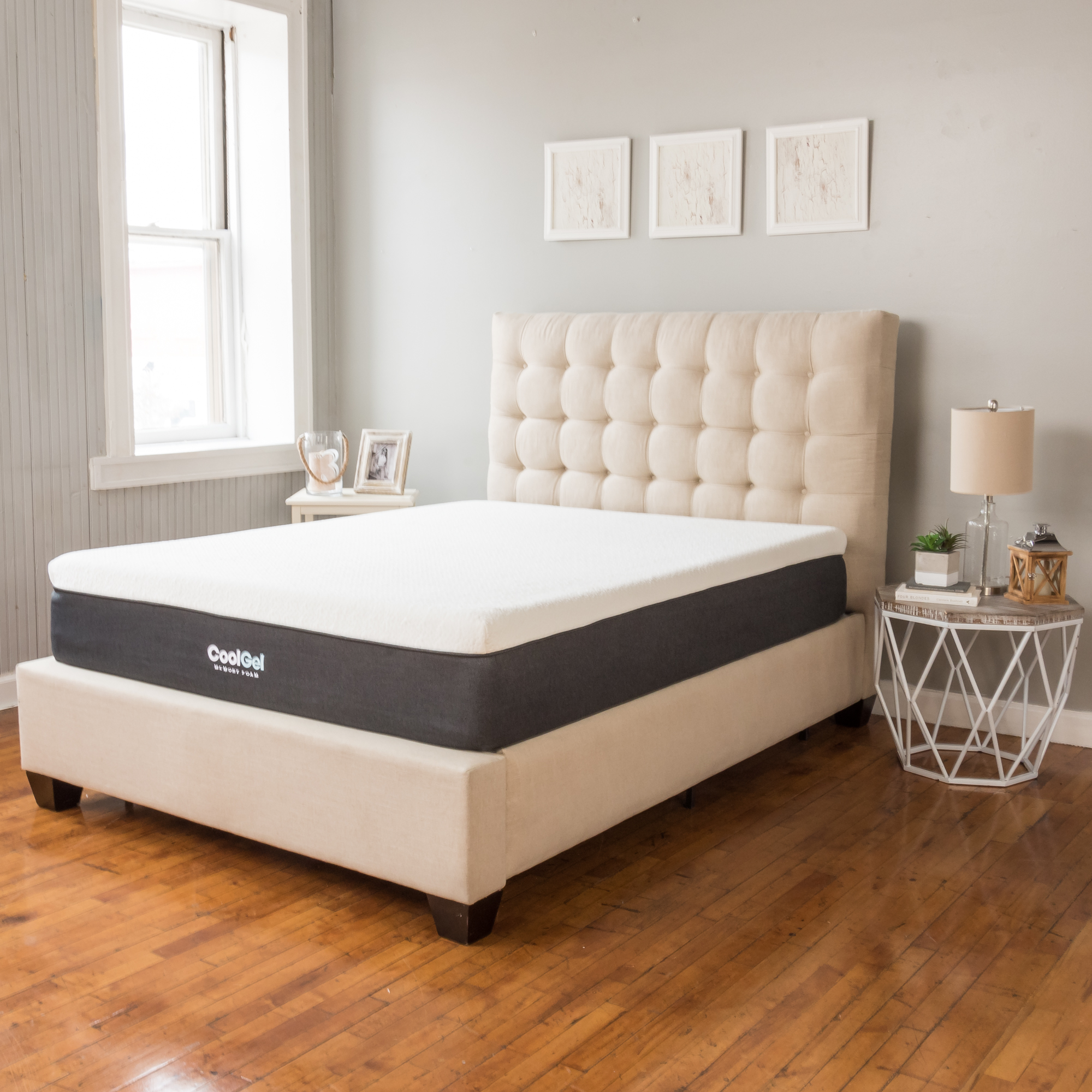"Modern Sleep Cool Gel 12"" Ventilated Gel Memory Foam Mattress, Multiple Sizes with Mainstays HUGE Pillow in 20""x28"" in Blue and White Stripe Bundle"