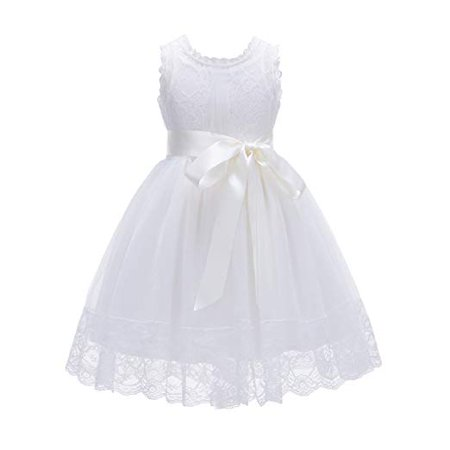 Ekidsbridal Ivory Cotton Floral Lace Overlay Flower Girl Dress Wedding Tulle Dresses Special Occasion Dresses Toddler Girl Dresses Girl Lace Dresses Pageant Dresses Easter Summer Dresses - Floral Occasion Dress