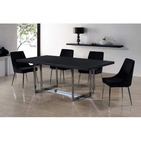 Elle Dining Table Karina Black Velvet Chairs Set 7pc Modern