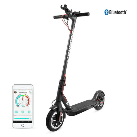SWAGTRON Swagger 5 Portable and Foldable Electric Scooter with Top Speed at 18 MPH, iOS and Android App for Cruise Control, Headlight, Speedometer, includes Phone Mount