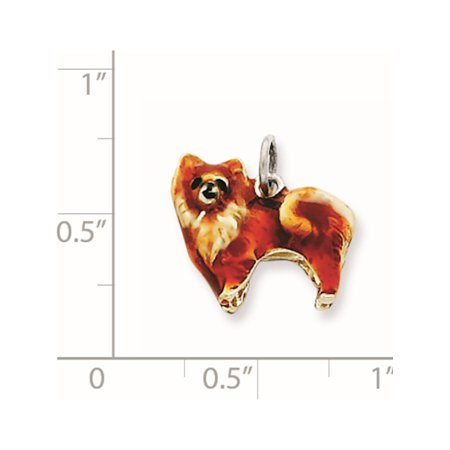 925 Sterling Silver Enameled Small Pomeranian (15x14mm) Pendant / Charm - image 2 of 2
