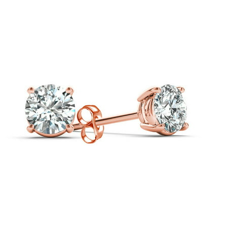 1 Carat T.W. Diamond Solitaire 14kt Rose Gold Earrings (SI)