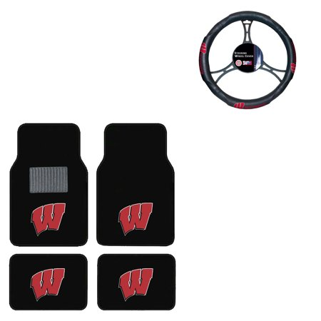 Wisconsin Badgers 4 Pc Carpet Floor Mats And Wheel Cover