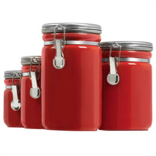 anchor hawking 03923red 4pc red ceramic canister set red kitchen canister set red kitchen canisters in vintage