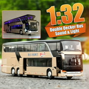 Double-decker Bus 1:32 Alloy Model Cars Toy With Sound & Light Play Vehicles Simulated Toys For Toddler Boys Girls Kids Gift - 3 to 12 Years