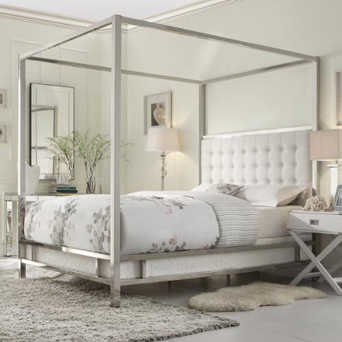 Inspire Q Solivita King Size Canopy Chrome Metal Poster Bed
