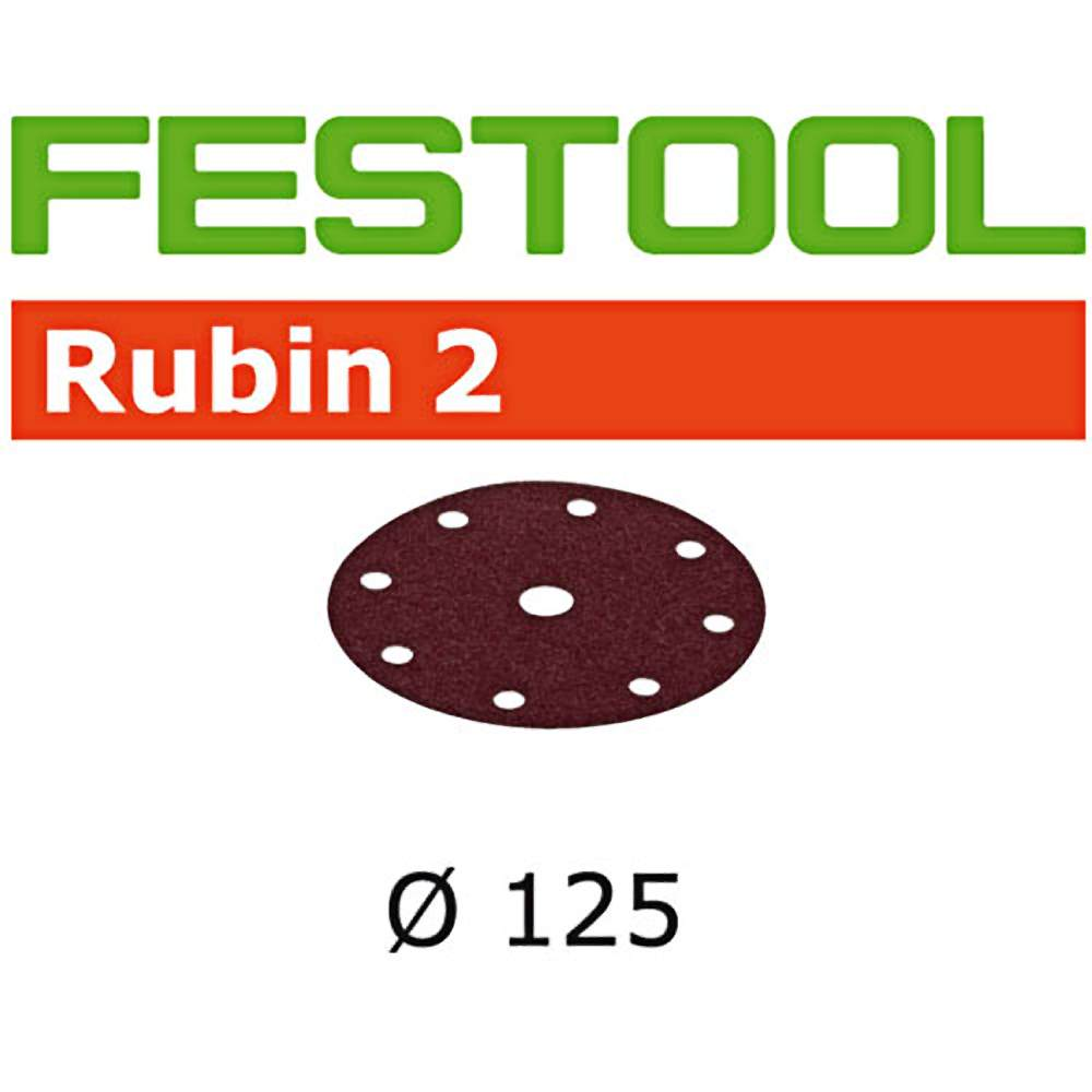Festool 499108 P220 Grit Rubin 2 Abrasives For Ro 125/Ets 125 Sander, 10-Pack