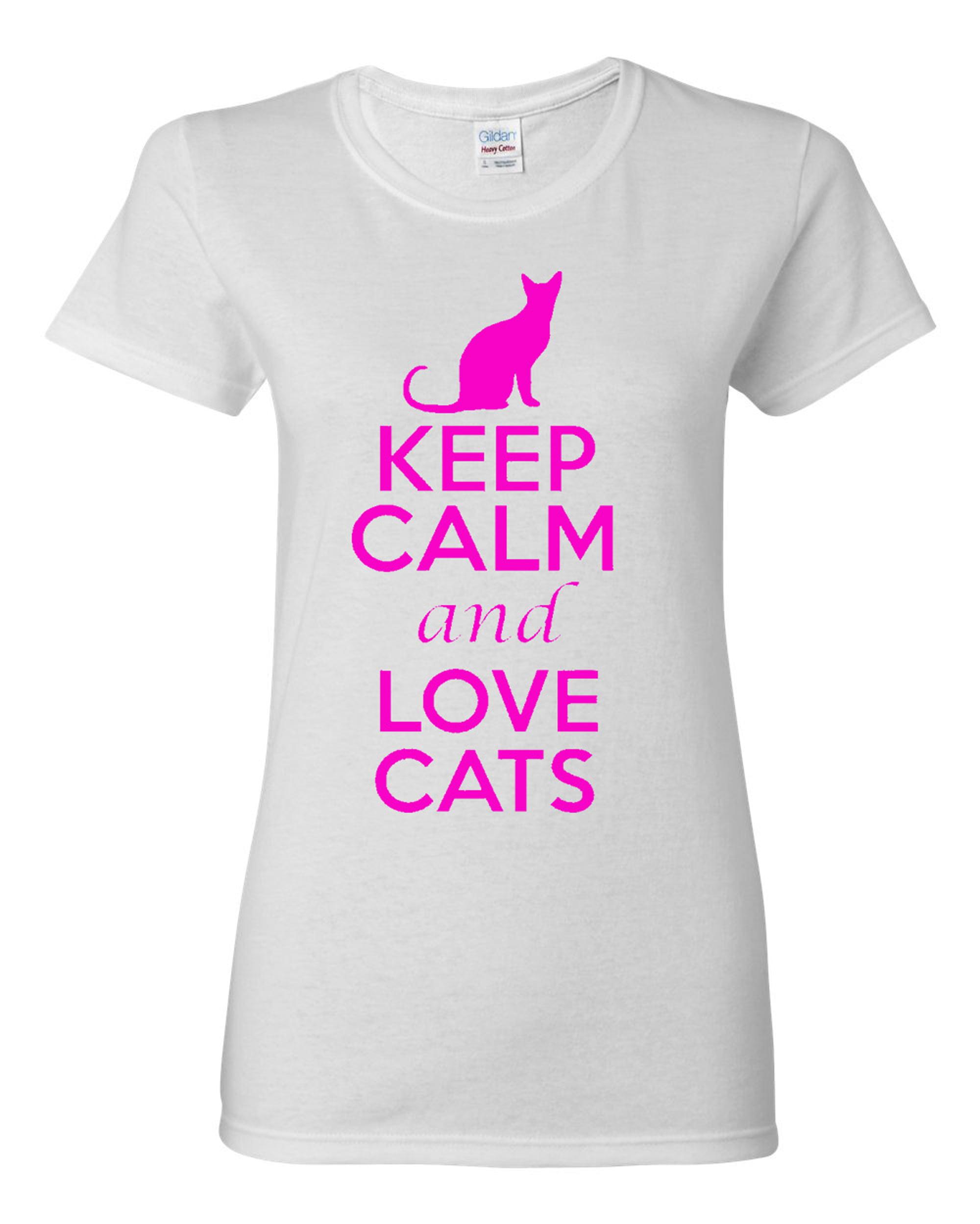 Ladies Keep Calm And Love Cats T-Shirt Tee
