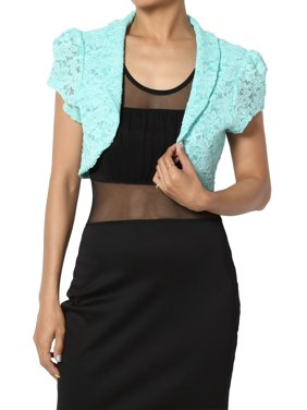 TheMogan Junior's Occasion Lace Short Sleeve Bolero Shawl Crop Jacket Mint XL