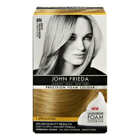 John Frieda Sheer Blonde Precision Foam Colour 8N Medium Natural Blonde Permanent Colour, 1.0 KIT