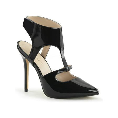 Womens Captivating Glossy Patent Black Dress Sandals 5 Inch High Heel