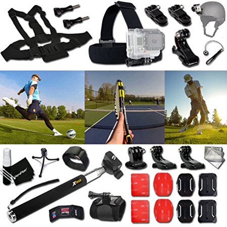 Xtech® TENNIS ACCESSORIES Kit for GoPro Hero 4 3+ 3 2 1 Hero4 Hero3 Hero2, Hero 4 Silver, Hero 4 Black, Hero 3+ Hero3+ Hero 3 Silver, Hero 3 Black and for basketball, Soccer, Football, Golf, (Skechers Go Golf Pro 2 Lx Golf Shoes)