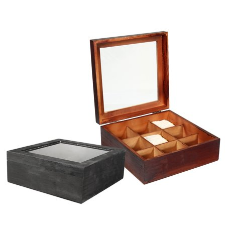 Meigar 9 Slots Wooden Tea Box Tea Bag Glass Organizer Top Lid Container Storage Gift](Boxes For Gifts)
