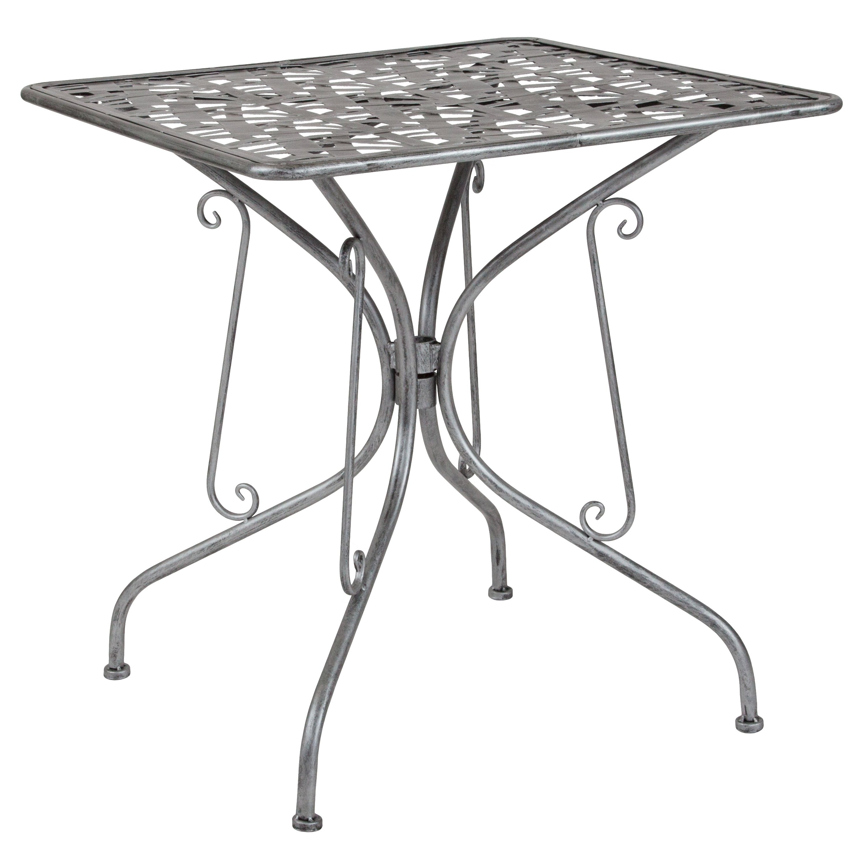 """Lancaster Home Agostina Series 27.5"""" Square Indoor-Outdoor Steel Patio Table"""